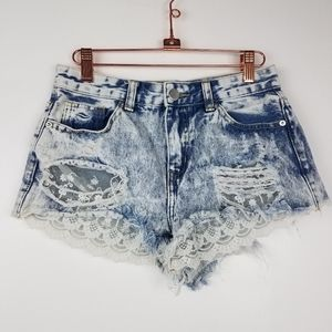 Forever 21| Lace Cut Offs Jean Shorts Distressed